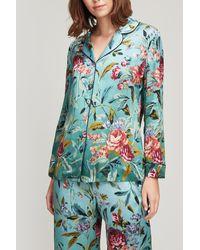Liberty Desert Rose Silk Satin Pyjama Set - Green