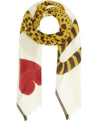 Inouitoosh Chance Leopard Wool-blend Scarf - White