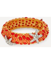 Kenneth Jay Lane Gold-plated Coral Resin Cabochon And Crystal Starfish Bracelet - Orange