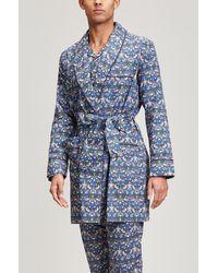 Liberty Strawberry Thief Tana Lawntm Cotton Short Robe - Blue