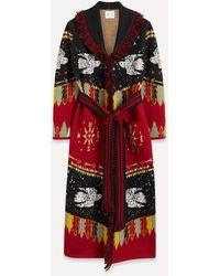 Hayley Menzies Merino Wool Duster Coat - Red