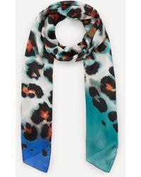 Paul Smith Leopard Print Silk Scarf - Blue