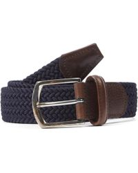Andersons Leather Trimmed Elasticated Woven Belt - Blue