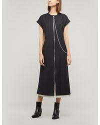 Acne Studios Panelled Zip Front Pinstripe Midi Dress - Blue