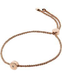 Monica Vinader - Rose Gold Vermeil Linear Solo Diamond Cord Friendship Bracelet - Lyst