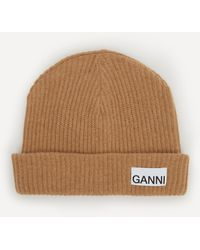 Ganni Recycled Wool-blend Beanie Hat - Brown