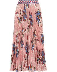 Stella Jean Floral Pleated Midi-skirt - Pink