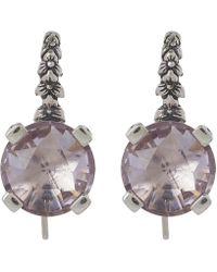 Stephen Dweck - Silver Amethyst Engraved Floral Drop Earrings - Lyst