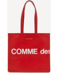 Comme des Garçons Huge Logo Leather Tote Bag - Red