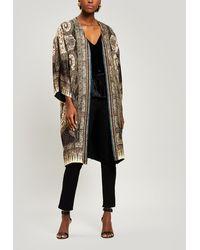 Etro Mid-length Paisley Silk-blend Kimono - Black