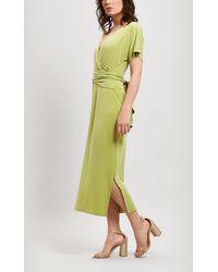 Paloma Wool Silvana Short Sleeve Midi Wrap-dress - Green