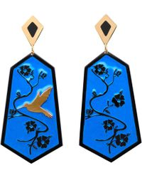 Anna E Alex - Fiori Di Ciliegio Gold Plated Resin Earrings - Lyst
