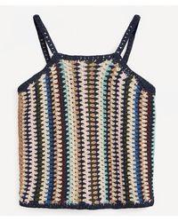 WOOD WOOD Stripe Crochet Strappy Top - Blue
