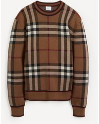 Burberry Naylor Birch Check Merino Wool Knit Sweater - Brown