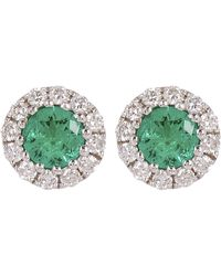 Kojis White Gold Emerald And Diamond Cluster Stud Earrings - Multicolour