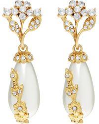 Oscar de la Renta Gold-tone Crystal And Faux Pearl Drop Earrings - Metallic