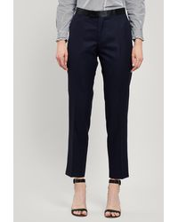 Officine Generale Zoe Satin Belt Wool Trousers - Blue