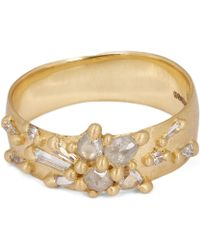 Polly Wales - Gold Frosty Diamond Lotus Ring - Lyst