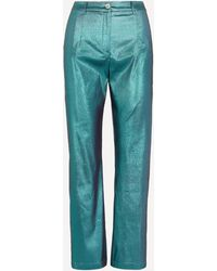 Paloma Wool Hamptons High-rise Shiny Trousers - Blue