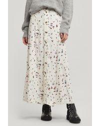 Ganni Petal Print Button-down Crepe Skirt - White