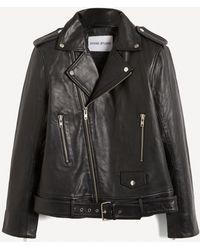 Stand Studio Nina Lamb Leather Biker Jacket - Black