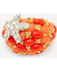 Kenneth Jay Lane Gold-plated Coral Resin Cabochon And Crystal Starfish Ring - Multicolour