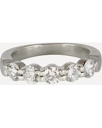 Kojis Platinum Five Stone Diamond Ring - Metallic