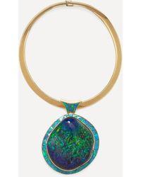 Kojis 14ct Gold Black Opal Pendant Necklace - Metallic