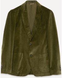 Officine Generale Italian Corduroy Blazer Jacket - Green