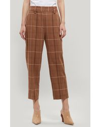 Acne Studios Checked Wool-blend Tapered Trousers - Brown