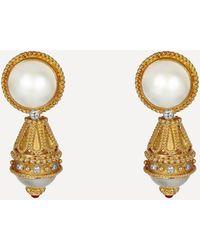 Kojis Gold Pearl And Diamond Detachable Drop Earrings - Metallic