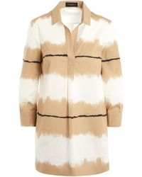 Piazza Sempione Ombre Art Striped Cotton Tunic Shirt - Natural