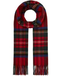 Johnstons Cashmere Tartan Scarf - Red