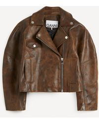 Ganni Washed Leather Cropped Jacket - Brown