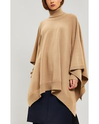 Maison Margiela Wool Roll-neck Poncho Sweater - Natural