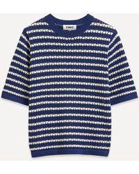 YMC Block Crochet Knit - Blue