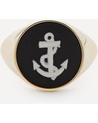 Ferian Gold Wedgwood Anchor Round Signet Ring - Metallic