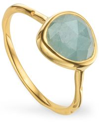 Monica Vinader Gold Plated Vermeil Silver Siren Aquamarine Stacking Ring - Metallic