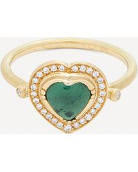 Brooke Gregson Gold Green Tourmaline And Diamond Heart Ring - Metallic