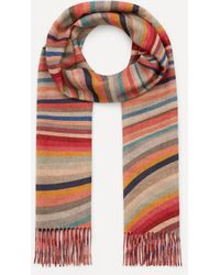 Paul Smith Double-sided Swirl And Zebra Print Modal-blend Scarf - Red