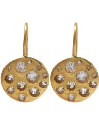 Polly Wales - Gold Crystal Disc White Sapphire Hook Earrings - Lyst
