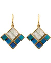 Nak Armstrong Blue Boulder Opal And Labradorite Earrings