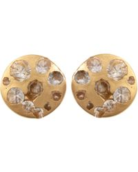 Polly Wales - Medium Gold White Sapphire Disc Studs - Lyst