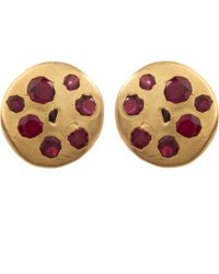 Polly Wales - Medium Gold Crystal Disc Studs - Lyst