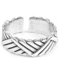 Philippe Audibert Diagonal Patterned Ben Ring - Metallic