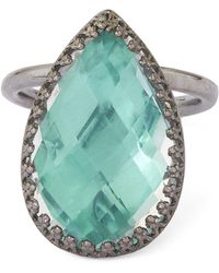 Larkspur & Hawk - Silver Sadie White Quartz Pear Ring - Lyst