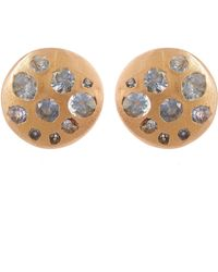 Polly Wales | Rose Gold Blue Sapphire Crystal Disc Studs | Lyst