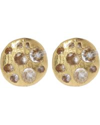 Polly Wales - Mini Gold White Sapphire Disc Stud Earrings - Lyst