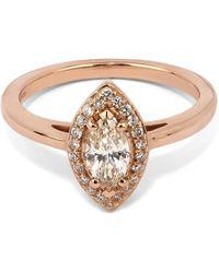 Anna Sheffield - Rose Gold Peach Morganite Marquise Rosette Ring - Lyst