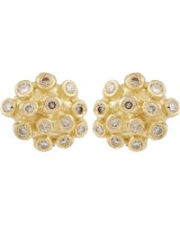 Satomi Kawakita - Gold Brown Diamond Cluster Stud Earrings - Lyst